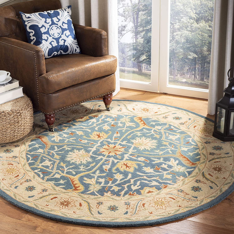 Amazon Com Safavieh Antiquity Collection At14e Handmade Traditional Oriental Premium Wool Area Rug 8 X 8 Round Blue Furniture Decor