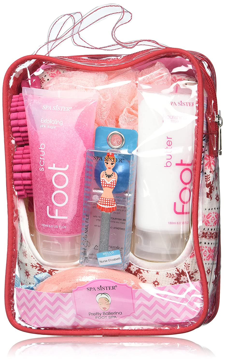 Bath Accessories Pretty Ballerina Foot Spa Set Flat Slippers, Pink Sugar