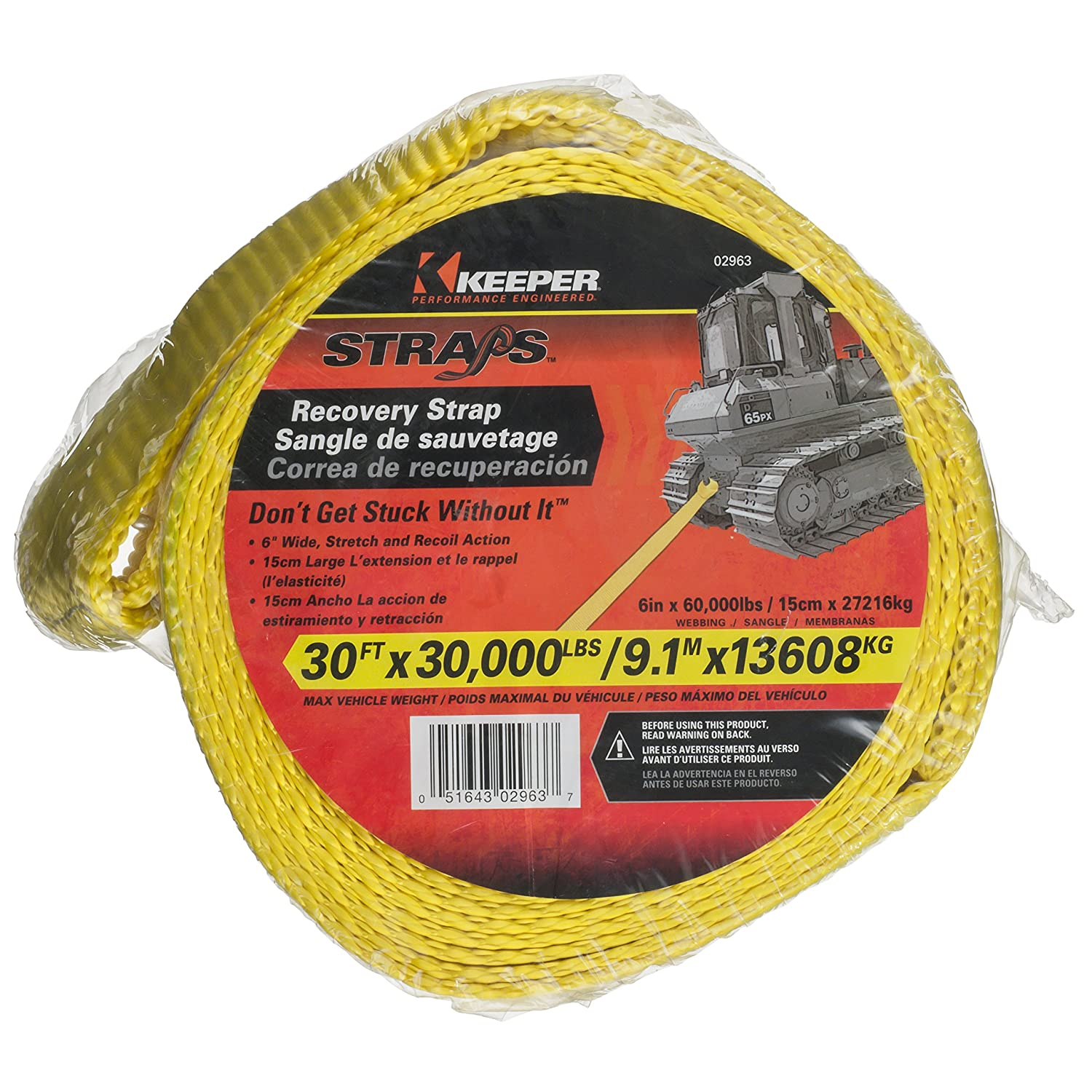 60,000 lb Web Capacity Keeper 02963 6 x 30 Vehicle Recovery Strap with Loops
