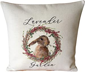 43LenaJon Lavender Bunny Rabbit Cushion Cover 18x18 Rustic French Country Botanical Gift Throw Pillow Covers Home Decor for Sofa Couch
