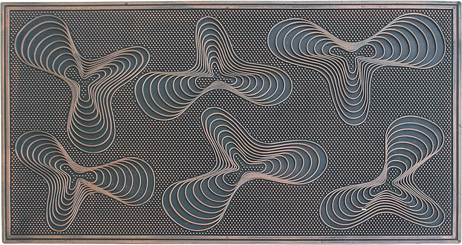"""A1 HOME COLLECTIONS A1HOME200042 Rubber Pin Geometric Doormat, 18"""" L X 30"""" W, 18""""X30"""", Concentric Cirle"""