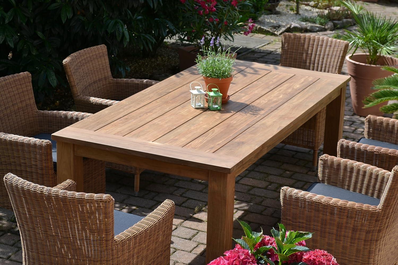 Teakholz tisch garten  Amazon.de: Teak Sitzgruppe Garten Garnitur Tisch (200x100) und 6 ...