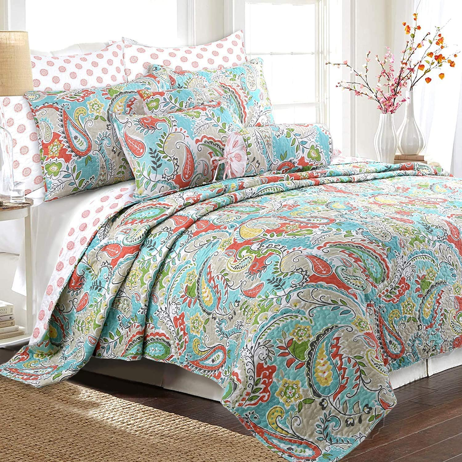 Cozy Line Home Fashions Cotton Reversible Quilt Bedding Set, Bedspread, Coverlet, 1 Quilt and 2 Pillow Shams (Mirage Paisley, Queen - 3 Piece)