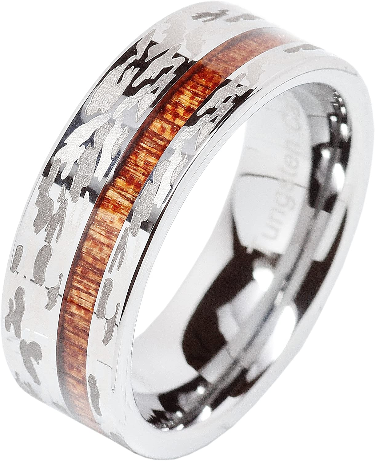 100S JEWELRY Mens Tungsten Ring Camo Army Hunting Wood Inlay Silver Wedding Band Comfort Fit Size 8-15