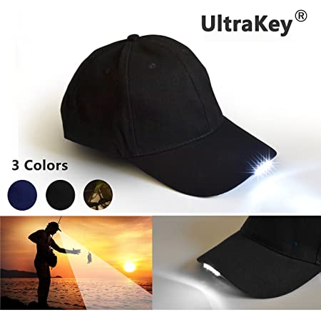 8ff1be31e7221 Amazon.com   UltraKey Hands Free LED Baseball Cap Light Glow Bright Women  Men Sport Hat Dark for Outdoor Jogging Breathable Snapback Hats Hip Hop  Party ...