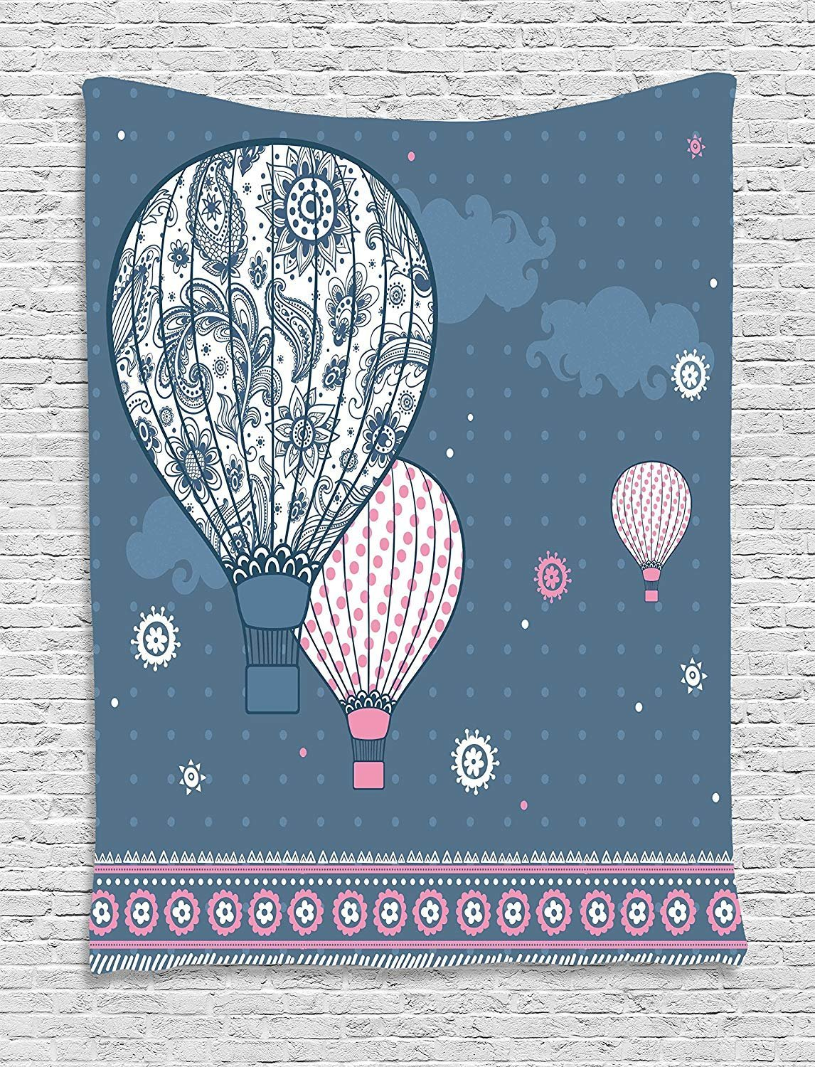 XHFITCLtd Retro Tapestry, Air Balloons on Polka Dots and Asian Ethnic Paisley Ornaments Art Print, Wall Hanging for Bedroom Living Room Dorm, 60 W x 80 L Inches, Slate Blue Light Pink