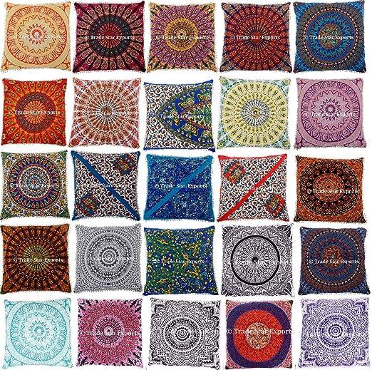 10 pcs Indian Mandala fundas de cojín, 26 x 26 Euro Sham ...