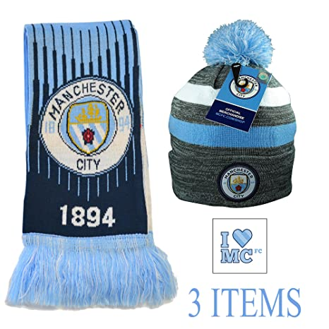 69cd3f24b1b Manchester City Set Beanie and Scarf Reversible Official Licensed New  Season (1)