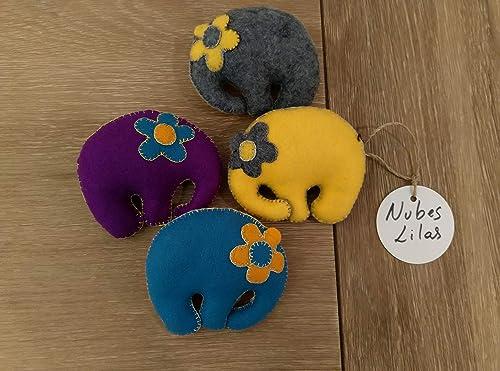 Elefantes blanditos y divertidos para niños y adultos. Cosidos a mano, fieltro sintetico e hilos de algodon, relleno de licra: Amazon.es: Handmade