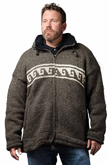 5294c294992 TCG Men s Winter Coat - Hand Knit Wool Outerwear Hoodie - Natural Brown