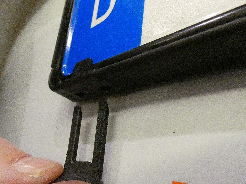 perfekt f/ür 4- und 5-stellige Nummernschilder 2 St/ück in schwarz 420 mm Kurz-Kennzeichenhalter 42cm