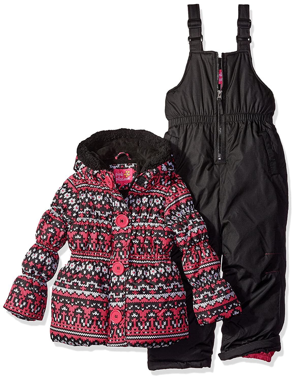 Pink Platinum Girls Fair Isle Print Snowsuit Black 4 PP878388-BLK