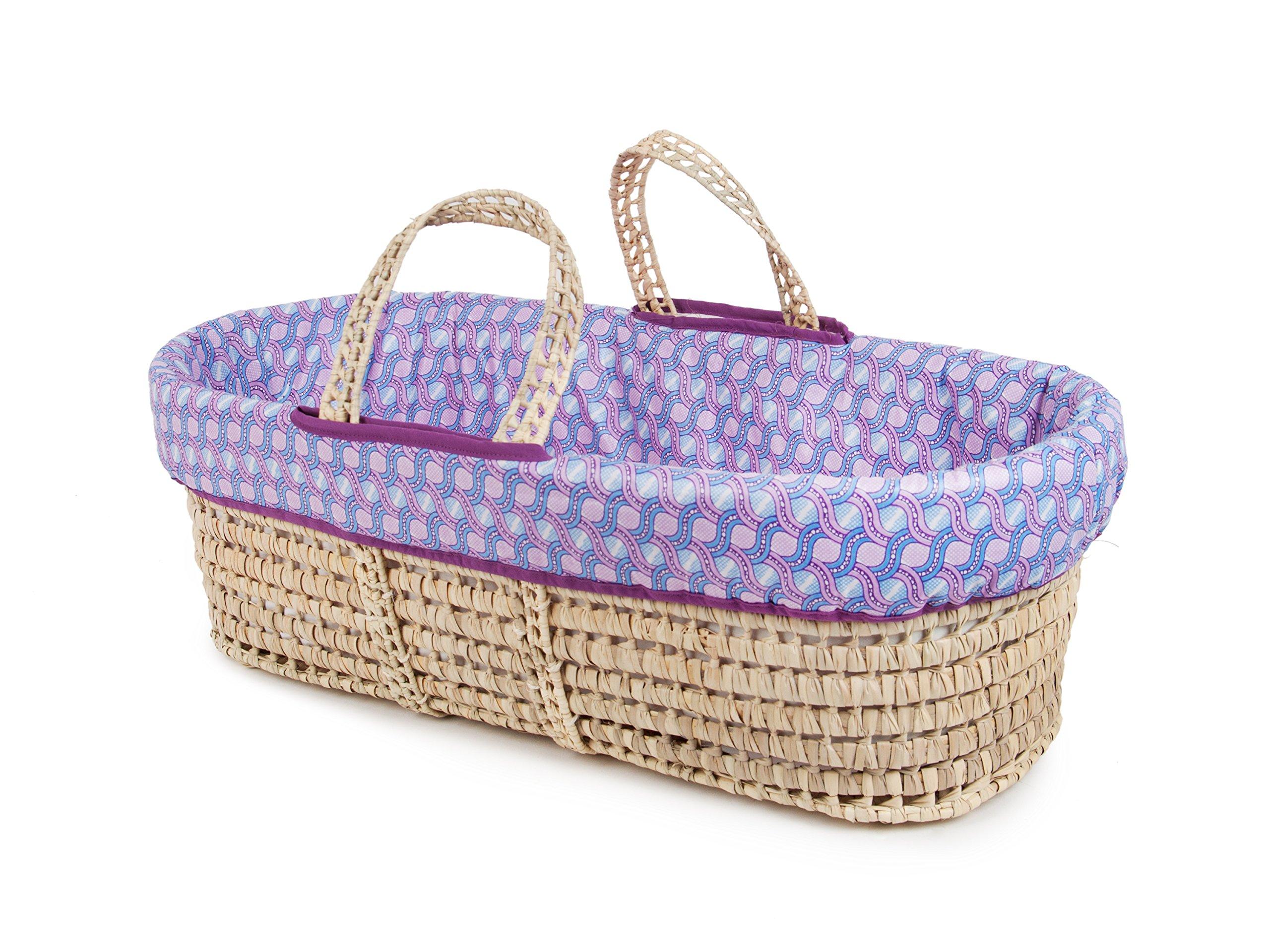 Tadpoles Moses Basket and Bedding Set, Lavender & Blue