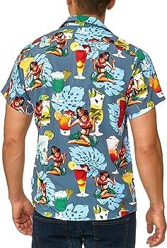 Indicode Caballero Charlton Camisa Hawaiana con Bolsillo en el Pecho de 100 % Viscosa   Regular Fit Manga Corta Camisa Vacaciones Verano, Sol, mar y Playa Informal para Hombres China Blue XXL: