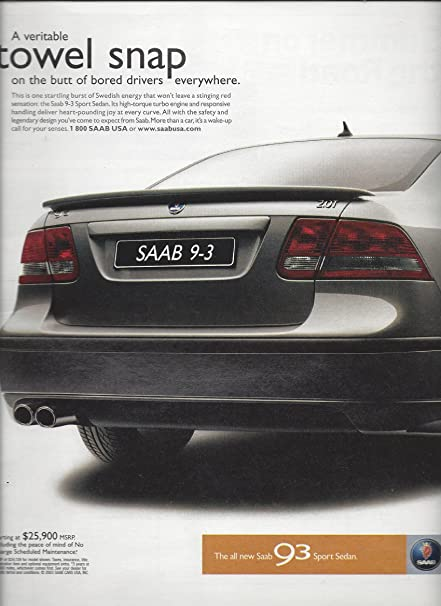 PRINT AD For 2003 Silver Saab 9-3 Car: A Veritable Towel Snap On The Butt at Amazons Entertainment Collectibles Store