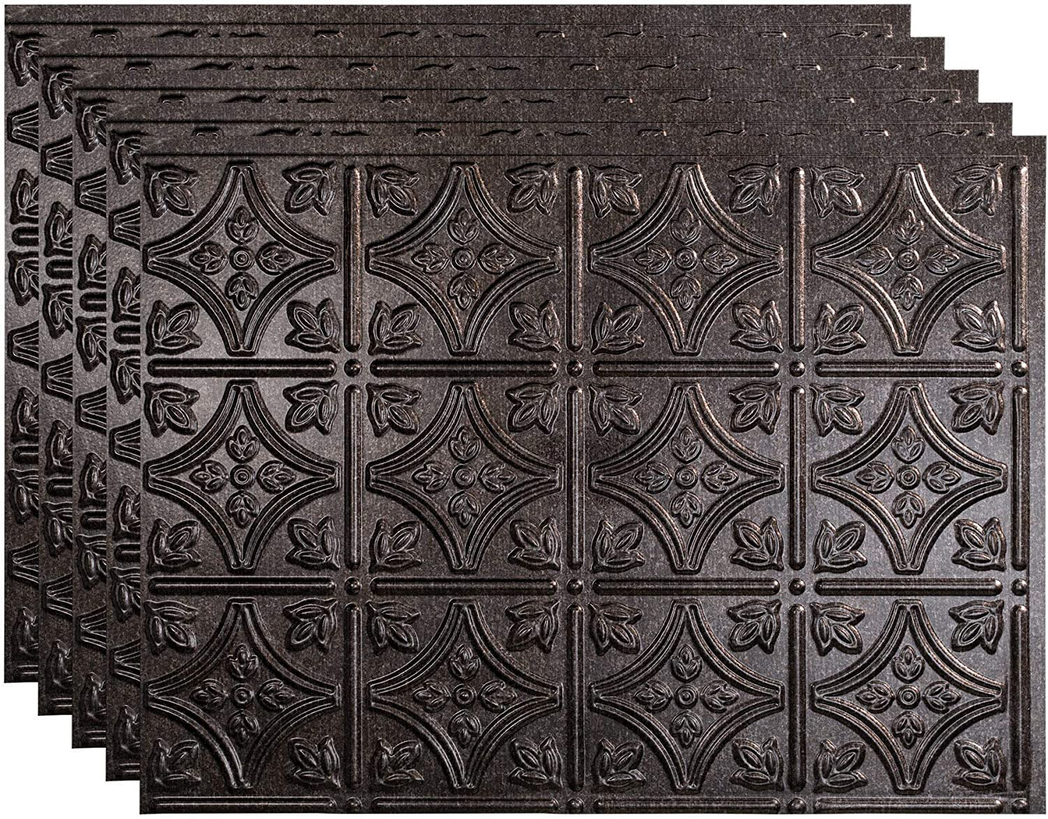 Amazon Com Fasade Traditional Style Pattern 1 Decorative Vinyl 18in X 24in Backsplash Panel In Smoked Pewter 5 Pack Home Kitchen