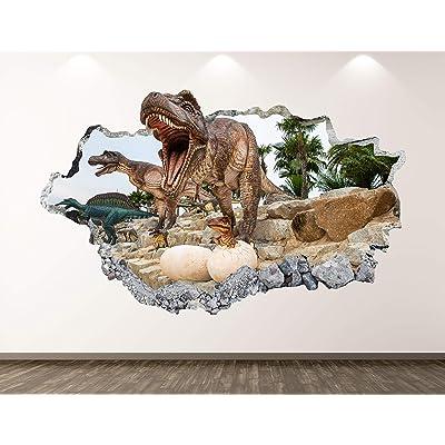 "West Mountain Wild Dinosaur Wall Decal Art Decor 3D Animal Sticker Mural Kids Room Vinyl Custom Gift BL44 (22"" W x 14"" H): Home & Kitchen"