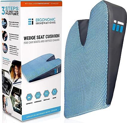 Amazon.com: Cojín de asiento de coche almohada de cuña ...