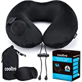 Inflatable Travel Neck Pillow for Airplanes by cooltro | Premium Flight Pillow plus 3D Eye Mask plus Carry Pouch with carabiner