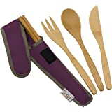 Bamboo Travel Utensils - To-Go Ware Utensil Set with Carrying Case (Mulberry)
