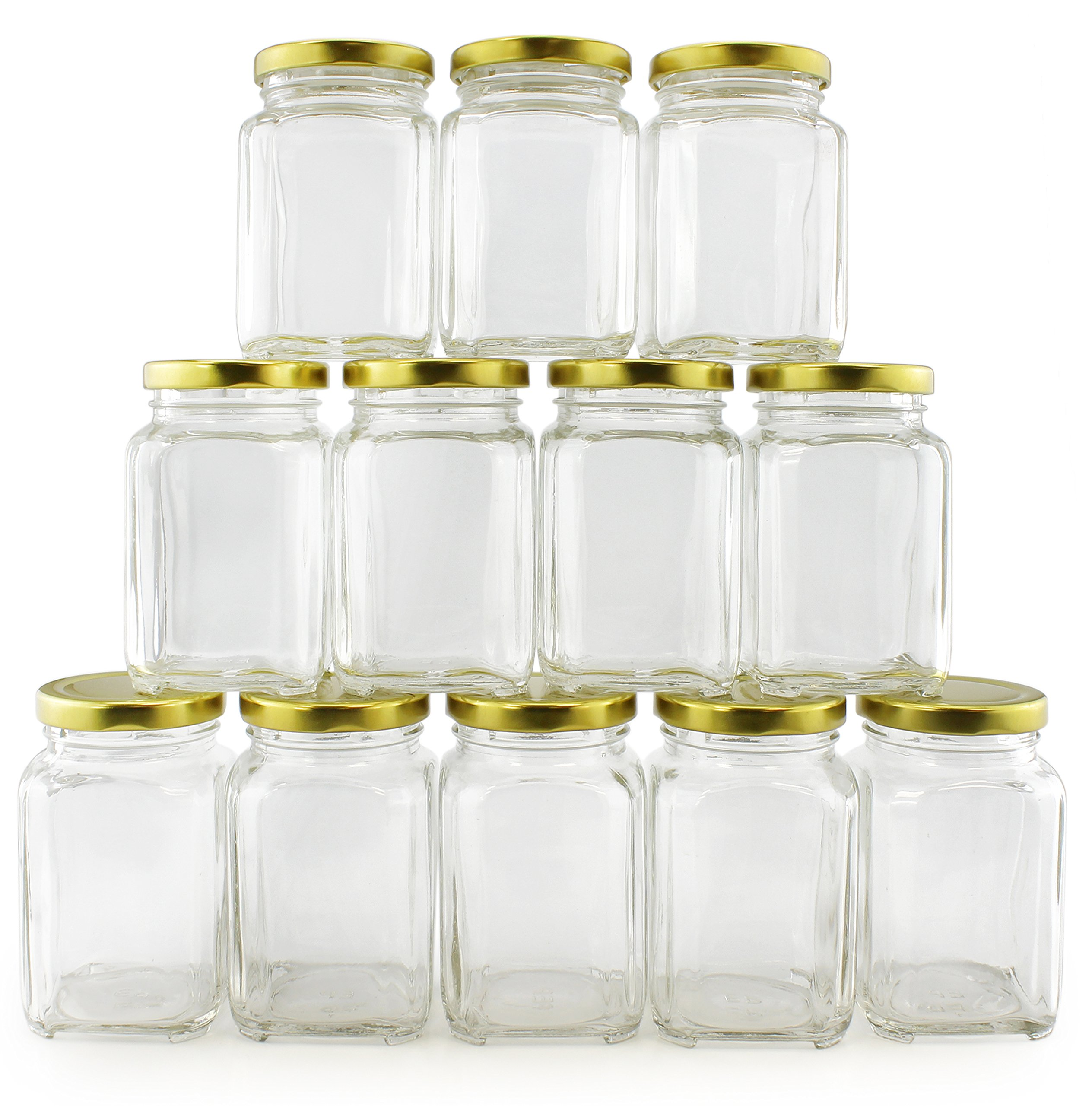 8-Ounce Victorian Square Glass Jars (12-Pack); Retro-Style Jars w/Gold Lids for Spices, Gifts & More