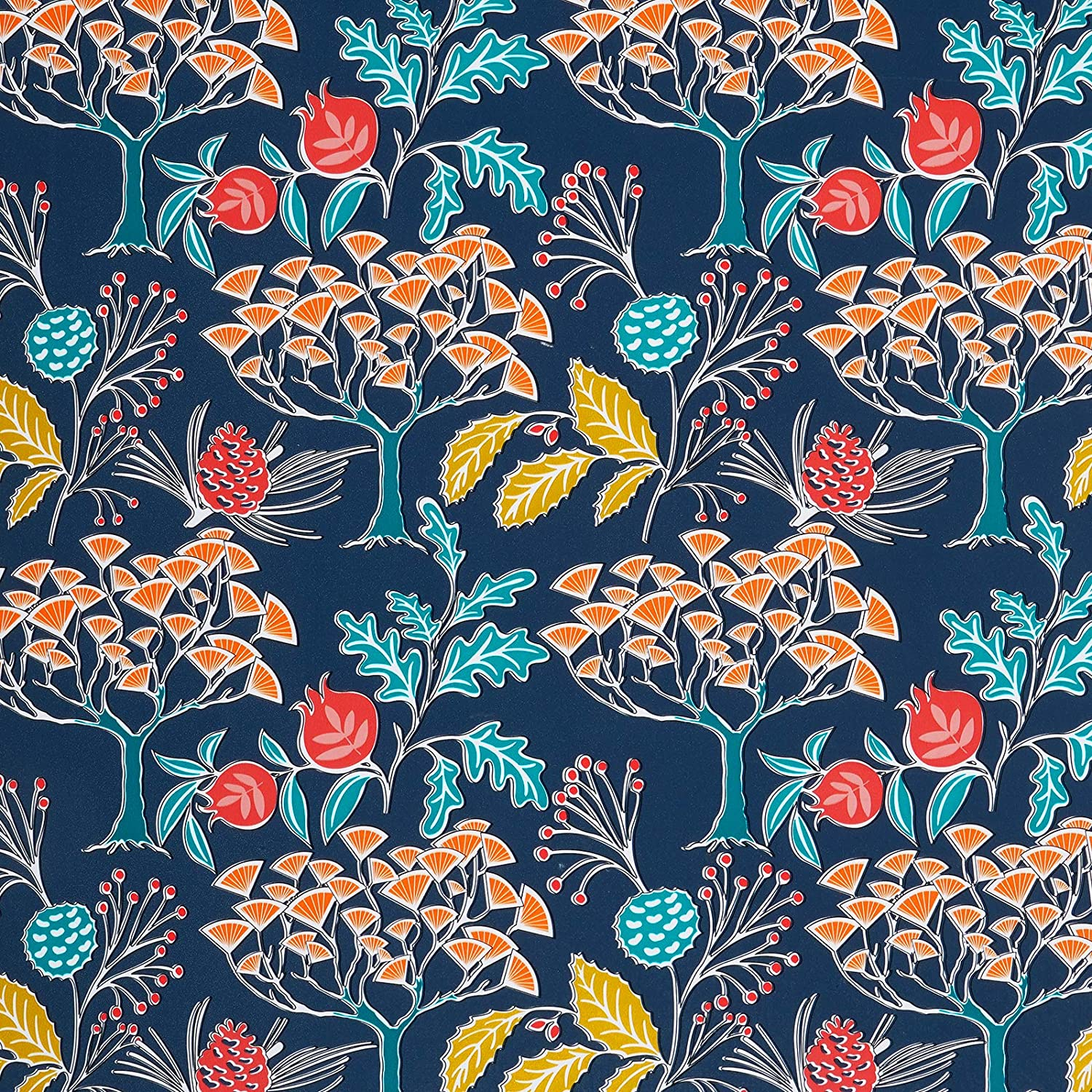 "Melwod Vintage Floral Navy Blue Peel and Stick Removable Wallpaper 17.71"" x 78.7"" Multicolor Decorative Wallpaper Self Adhesive Vinyl for Drawer Liner Shelf Cabinets Furniture Crafts Accent Walls"