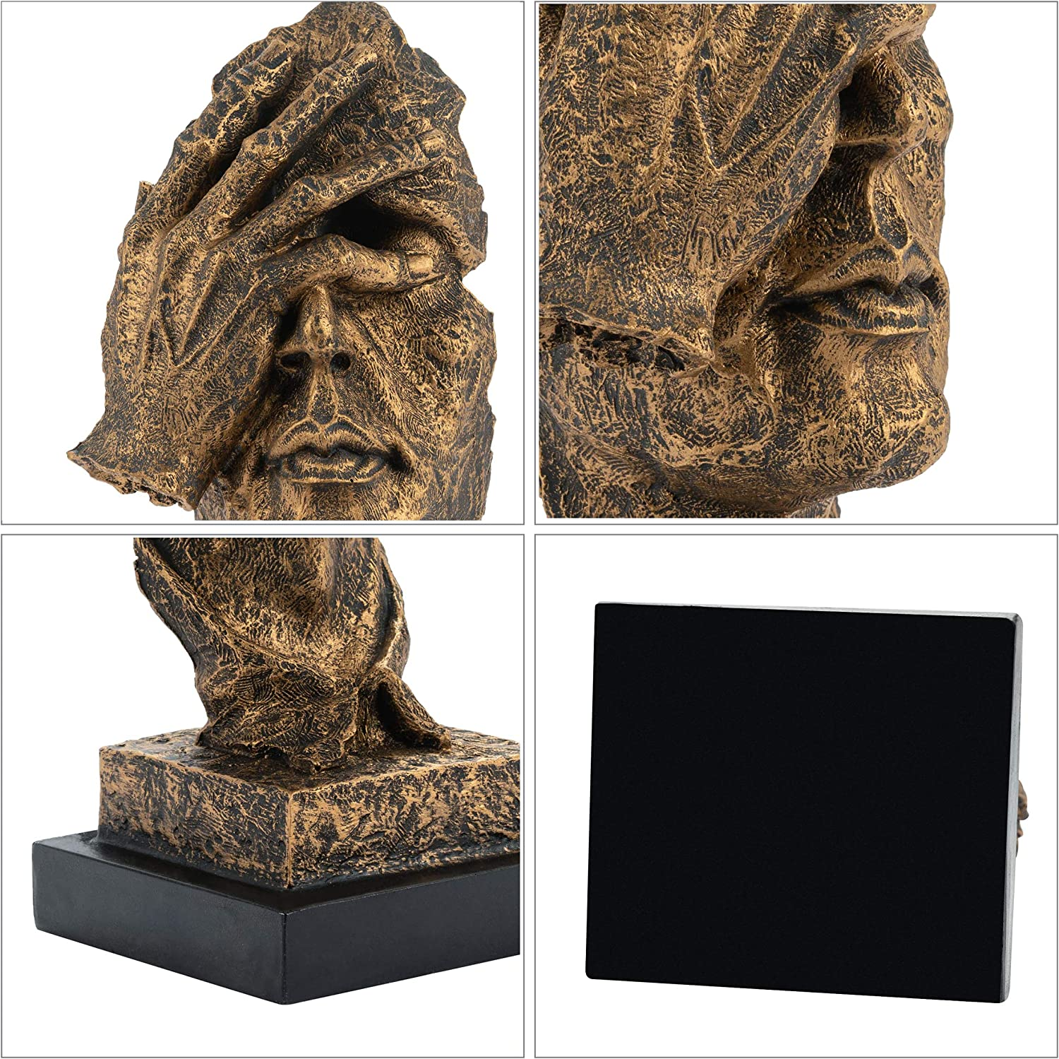 YINASI Abstract and Creative Desk Decorations The Thinker Statue No See Vintage Hand /& Face Statues and Sculptures with Square Base Resin Figurine for Office Home Living Room Desk Decor