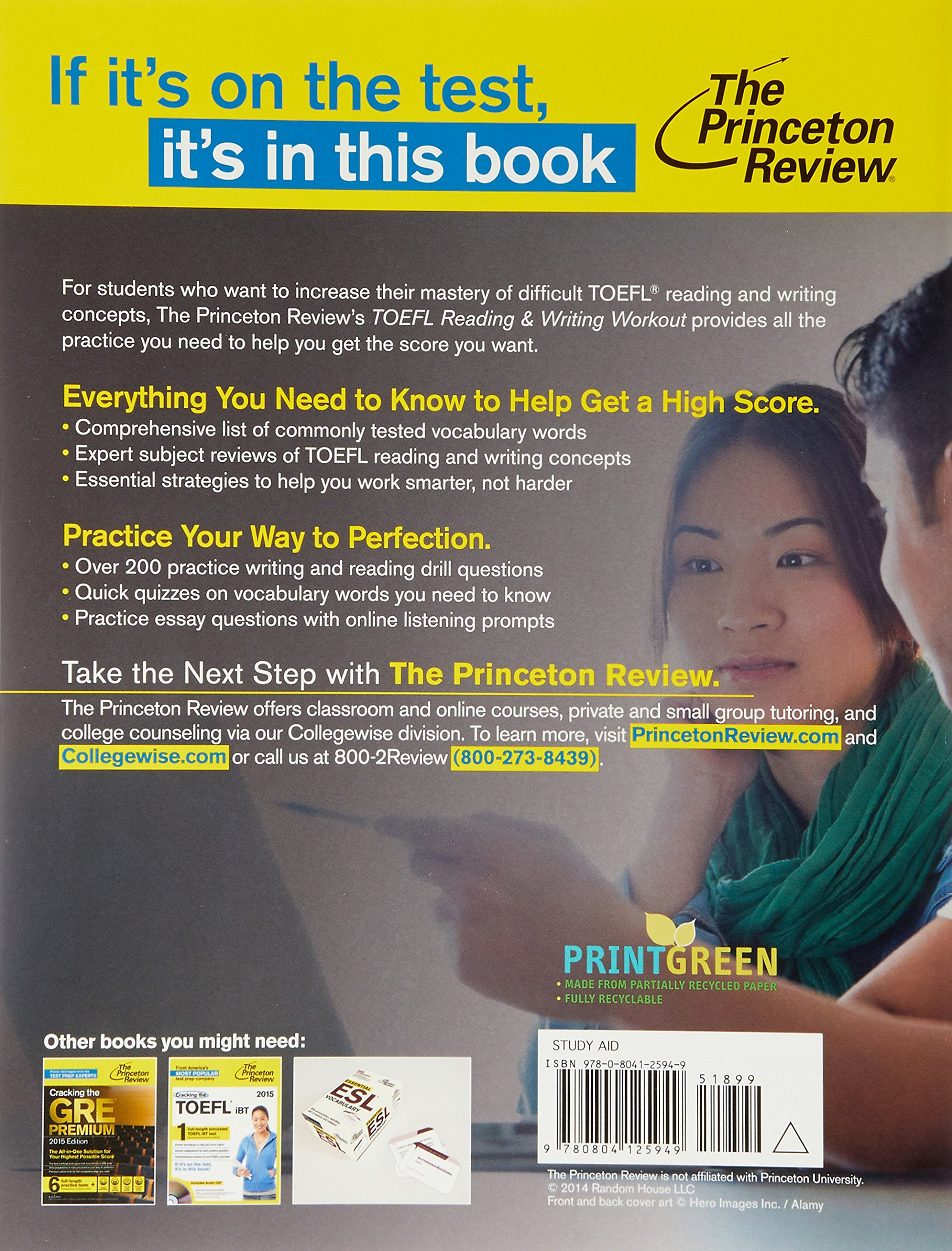 TOEFL Reading & Writing Workout: The Essential Practice You Need for the TOEFL  Scores You Want: Princeton Review: 9780804125949: Books - Amazon.ca
