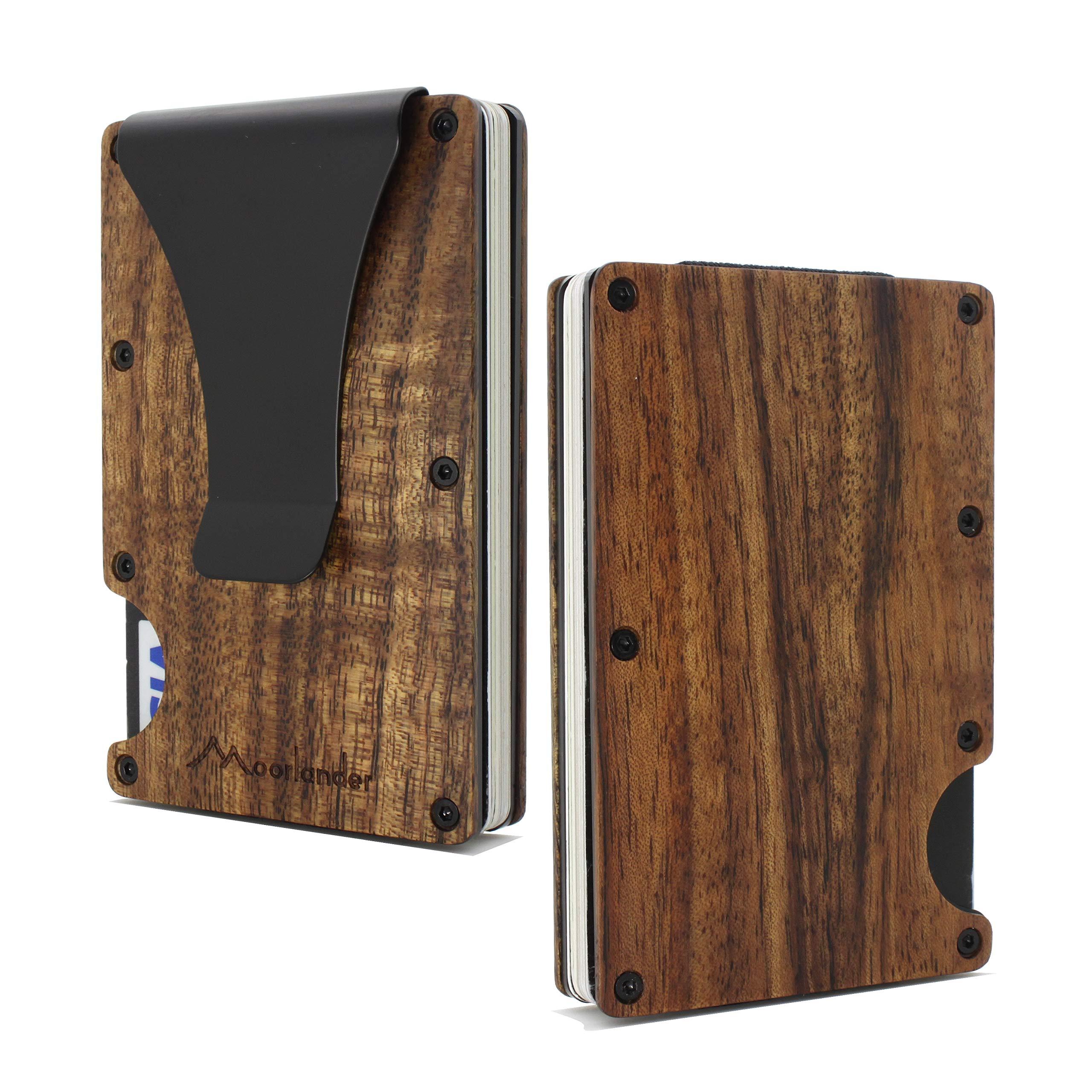 Acacia Koa Wood Credit Card Holder Wooden Case Slim RFID Blocking Metal Wallet Money Cash Clip Collection Anti Scan by Yinuode