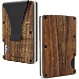 Acacia Koa Wood Credit Card Holder Wooden Case Slim RFID Blocking Metal Wallet Money Cash Clip Collection Anti Scan