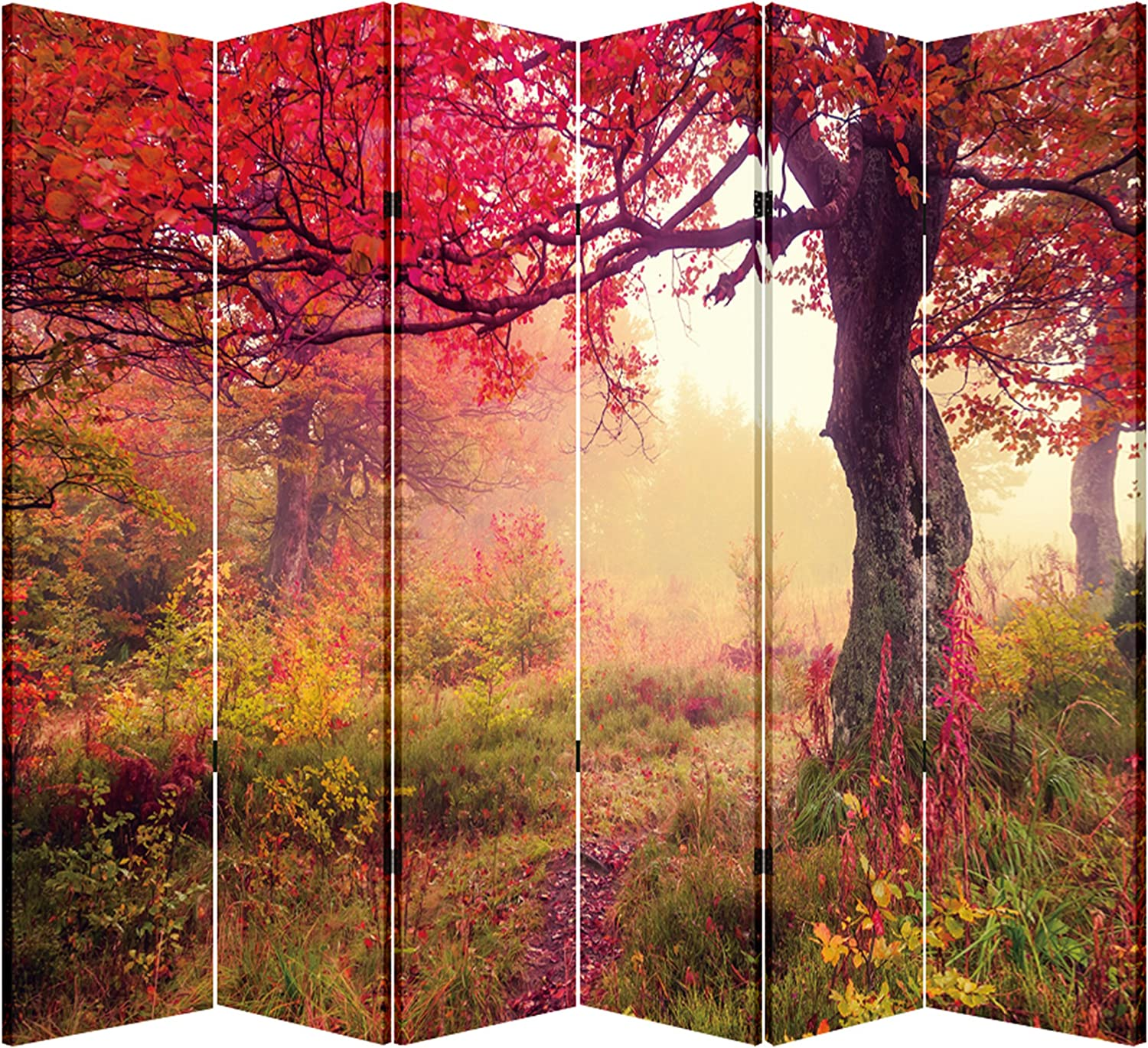 Toa 6 Panel Folding Screen Canvas Privacy Partition Divider Hidden Forest