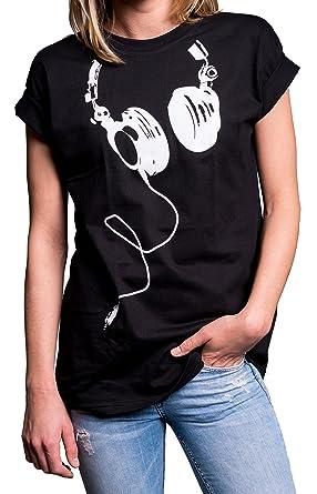136468130974 MAKAYA Coole Oberteile Damen - Hipster Oversize Shirt Kurzarm große Größen  - Kopfhörer Aufdruck schwarz S