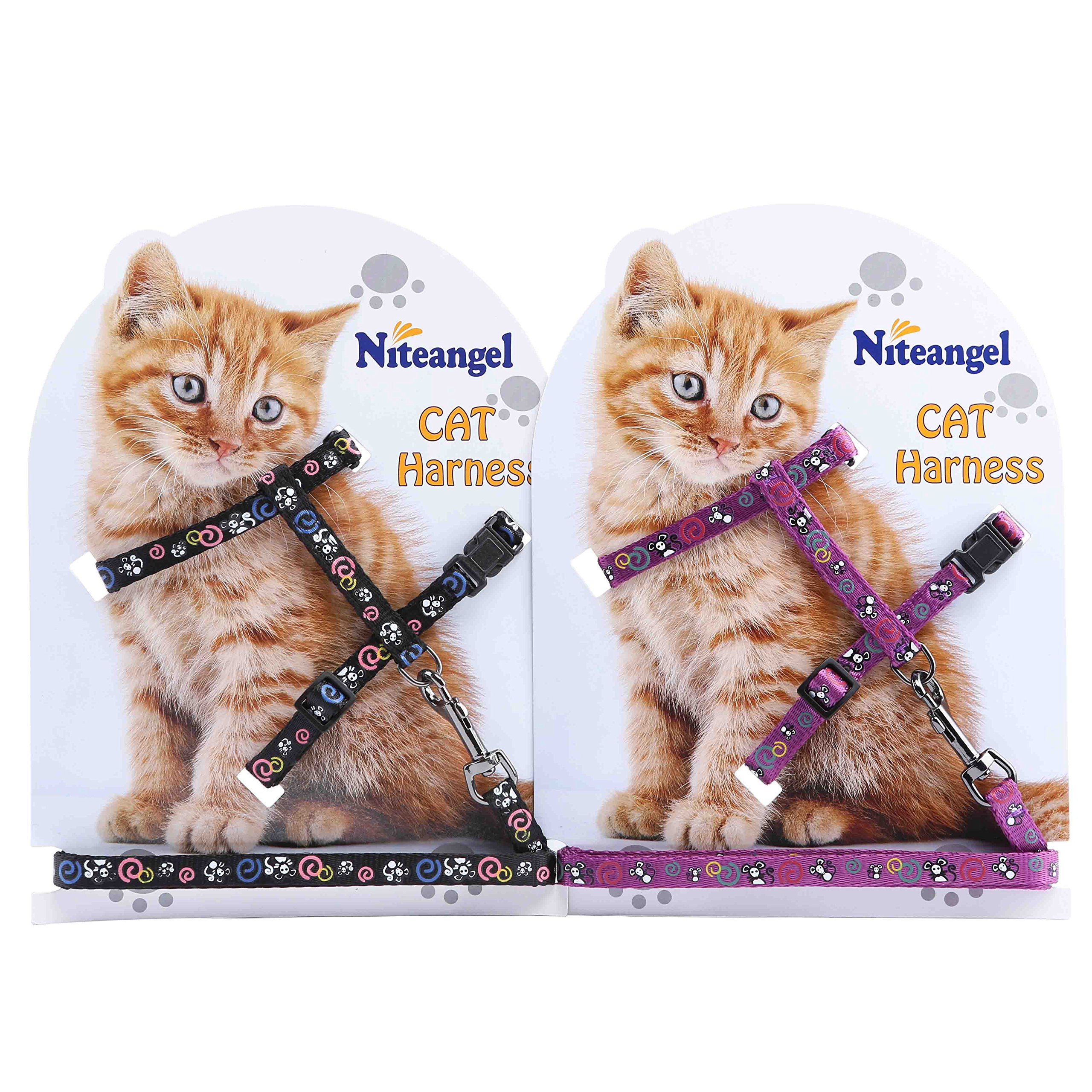 Niteangel 2 Pack of Adjustable Cat Harness & Leash Set