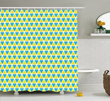 Gelb Und Blau Vorhang Fur Die Dusche Von Ambesonne Dreiecke Muster