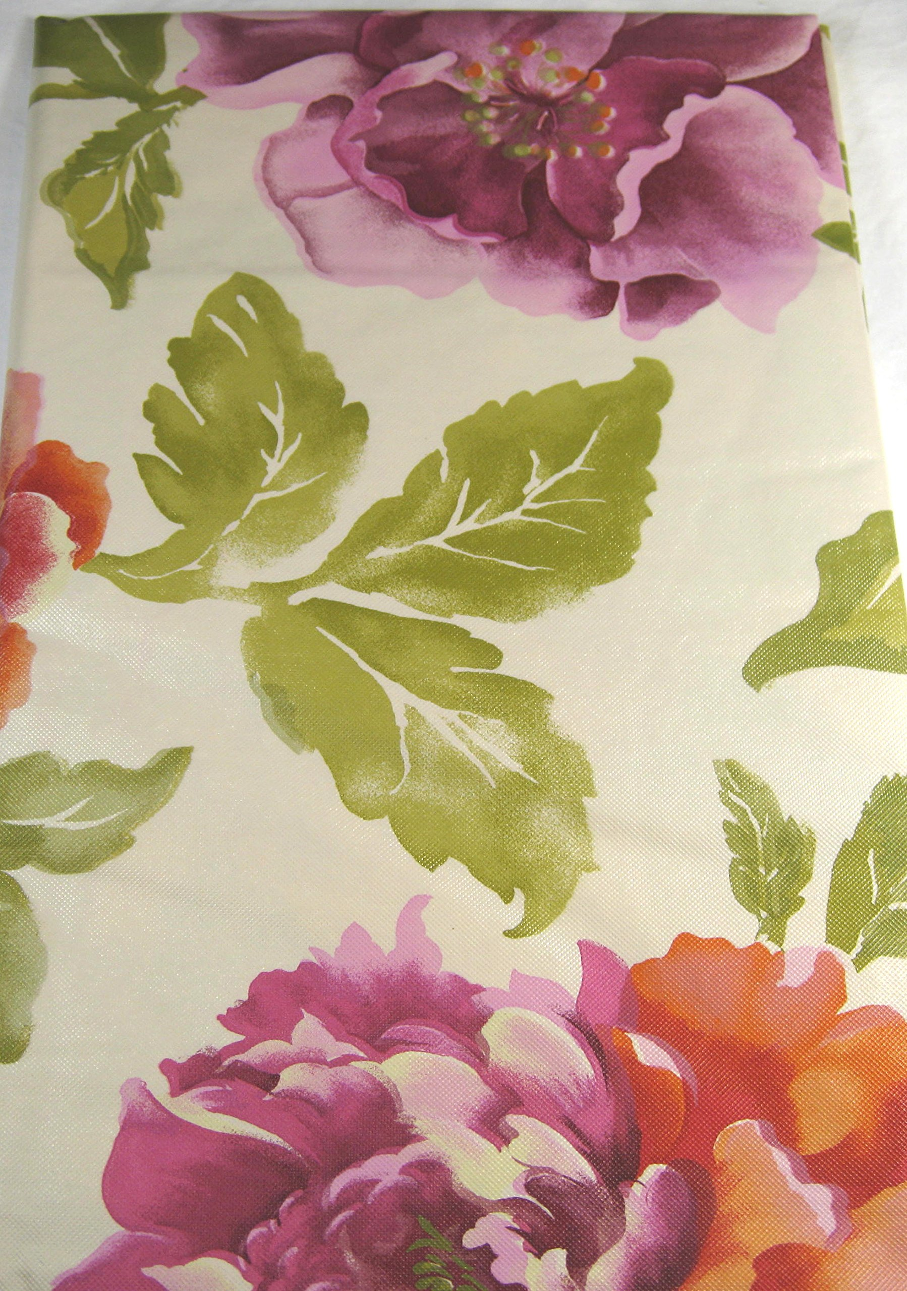 Elrene Large Assorted Flowers Flannel Back Vinyl Tablecloths Assorted Sizes Oblong and Round By (52 x 70 Oblong) by Elrene