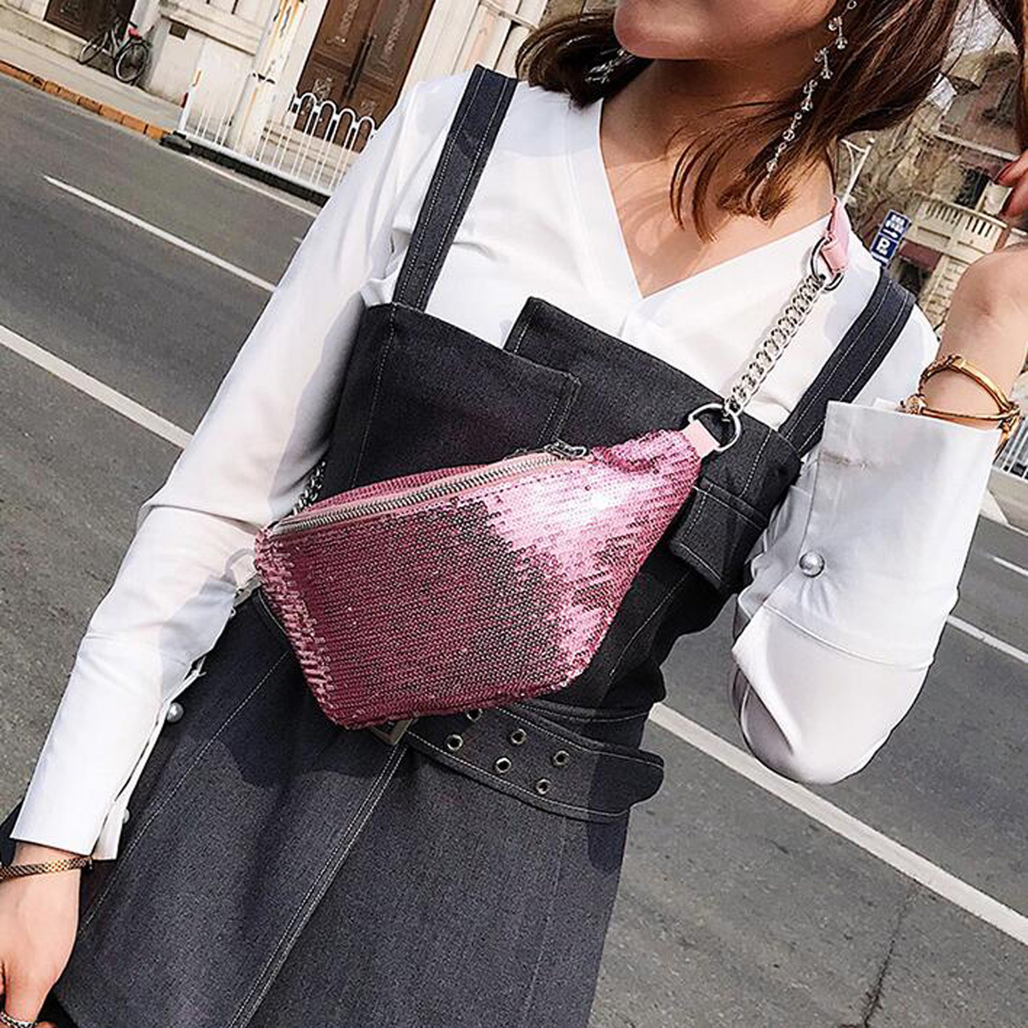 Womens Sequined Waist Fanny Pack Belt Pouch Sling Chest Bag Crossbody Hip Purse (pink) by JIANBAO (Image #3)