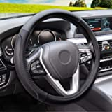 Magnelex Microfiber Leather Steering Wheel Cover – Black. Heat Resistant Anti-Slip Car Wheel Wrap - Compatible with Most…
