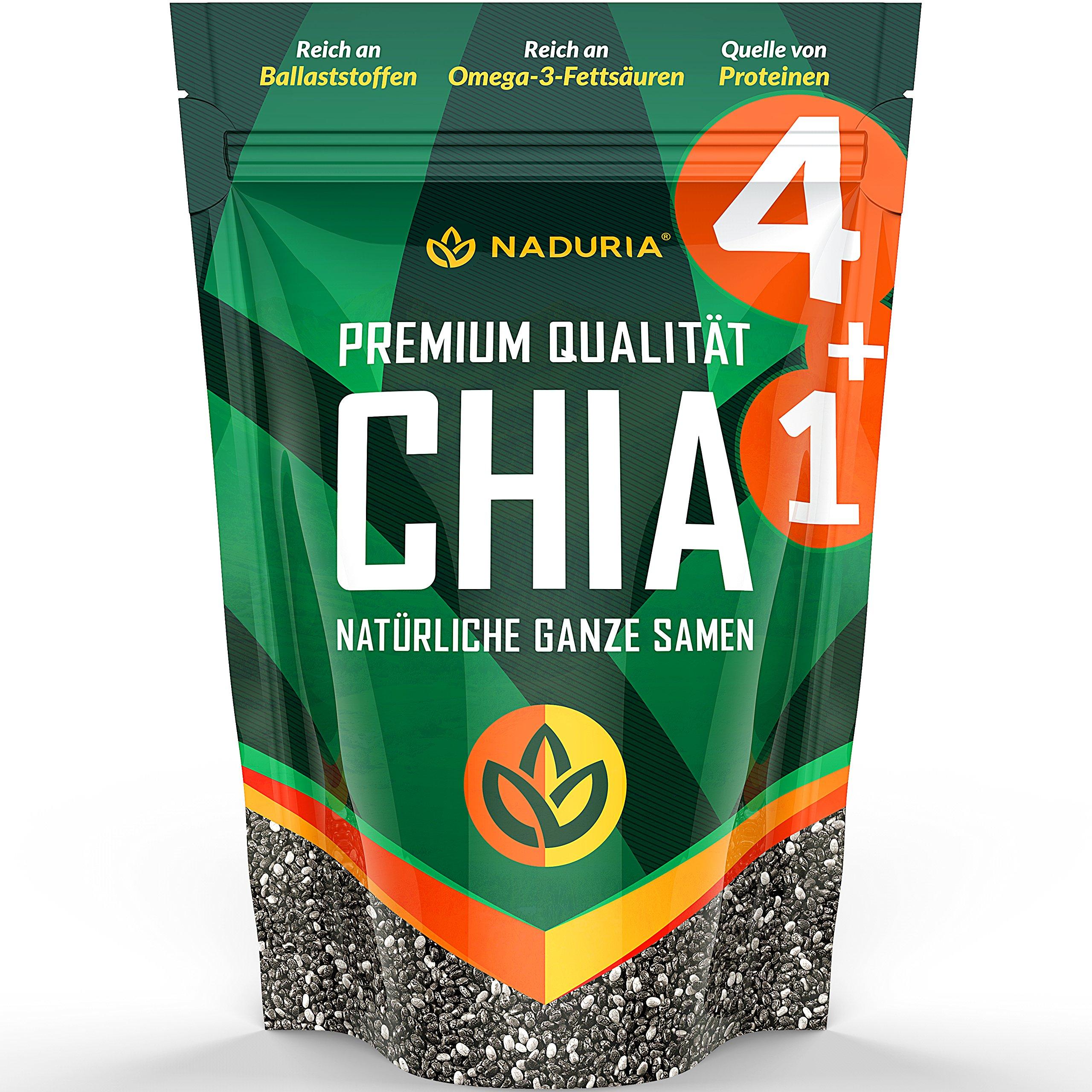 Naduria Premium ganze schwarze Chia Samen 5 x 500 Gramm product image