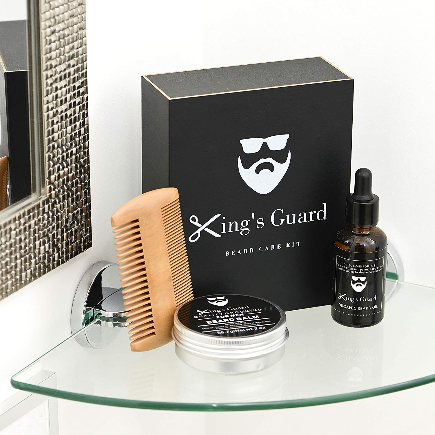 King's Guard Luxury Grooming Beard Care Kit – Natural Beard Oil + Beard Comb + Beard Balm - Perfect Gift Kit King' s Guard
