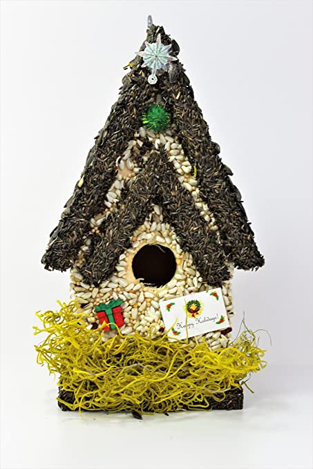 Handmade Edible Birdhouse- Unique Wooden Birdhouse Covered w/ Birdseed- Reseedable Bird Feeder-