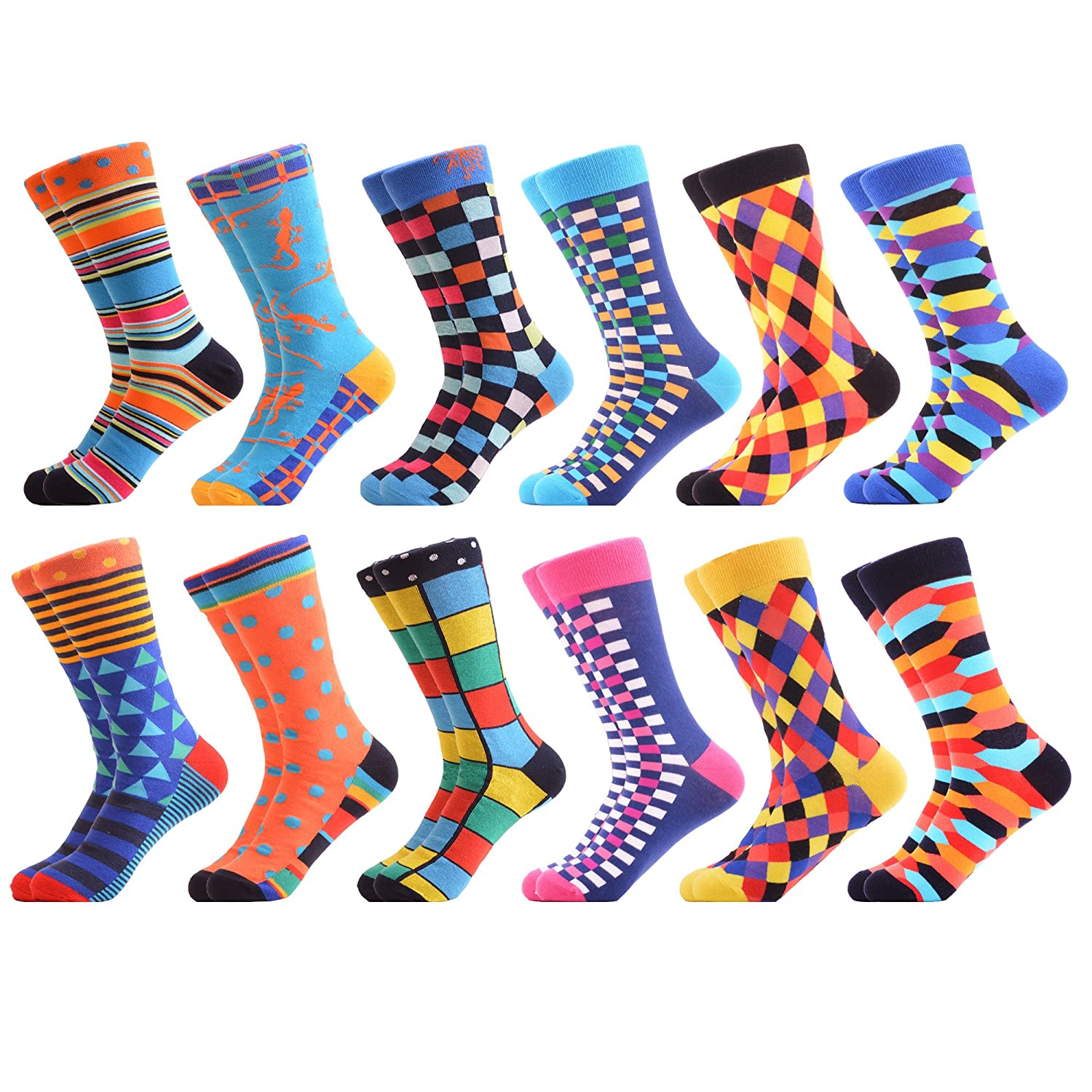 WeciBor Men's Dress Cool Colorful Fancy Novelty Funny Casual Combed Cotton Crew Socks Pack 052-02