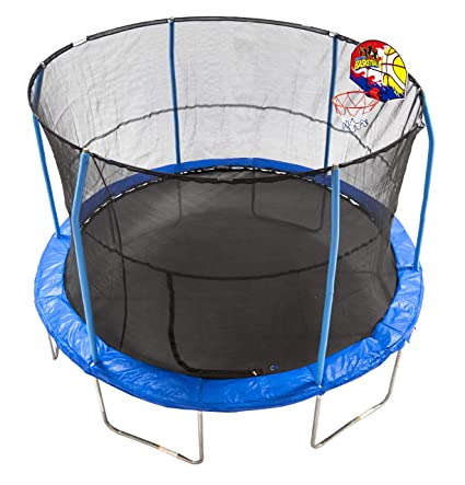 JumpKing 12' Bounce N' Dunk Trampoline & Enclosure Combo with Basketball  Hoop Blue