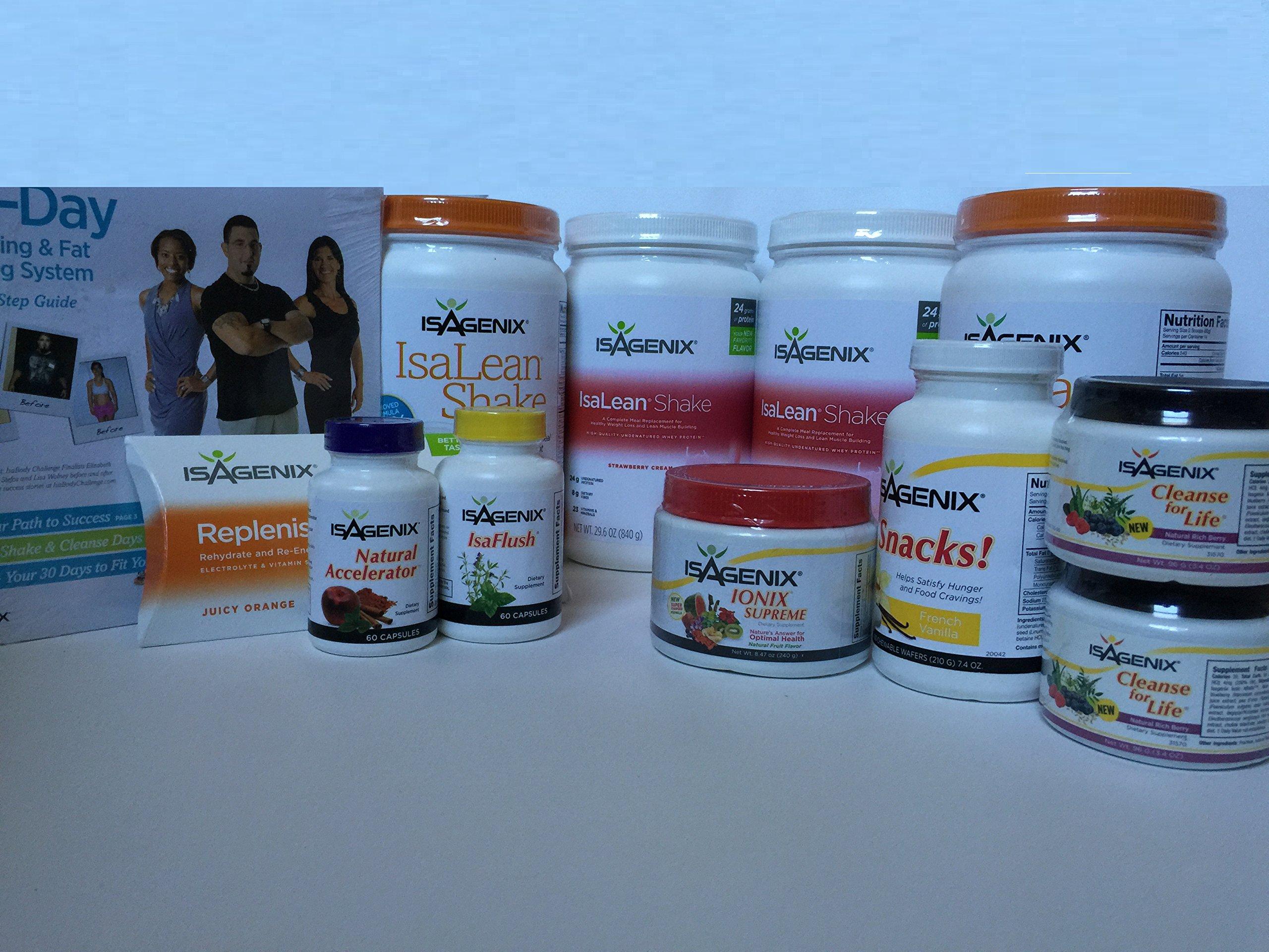 Isagenix 30 Day Weight Loss System with 2 Strawberry Cream, 2 Creamy French Vanilla Shake