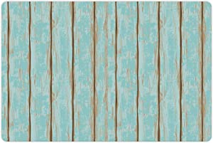 Lunarable Wood Print Pet Mat for Food and Water, Old Fashioned Weathered Rustic Planks Summer Cottage Beach Coastal Theme, Non-Slip Rubber Mat for Dogs and Cats, 18