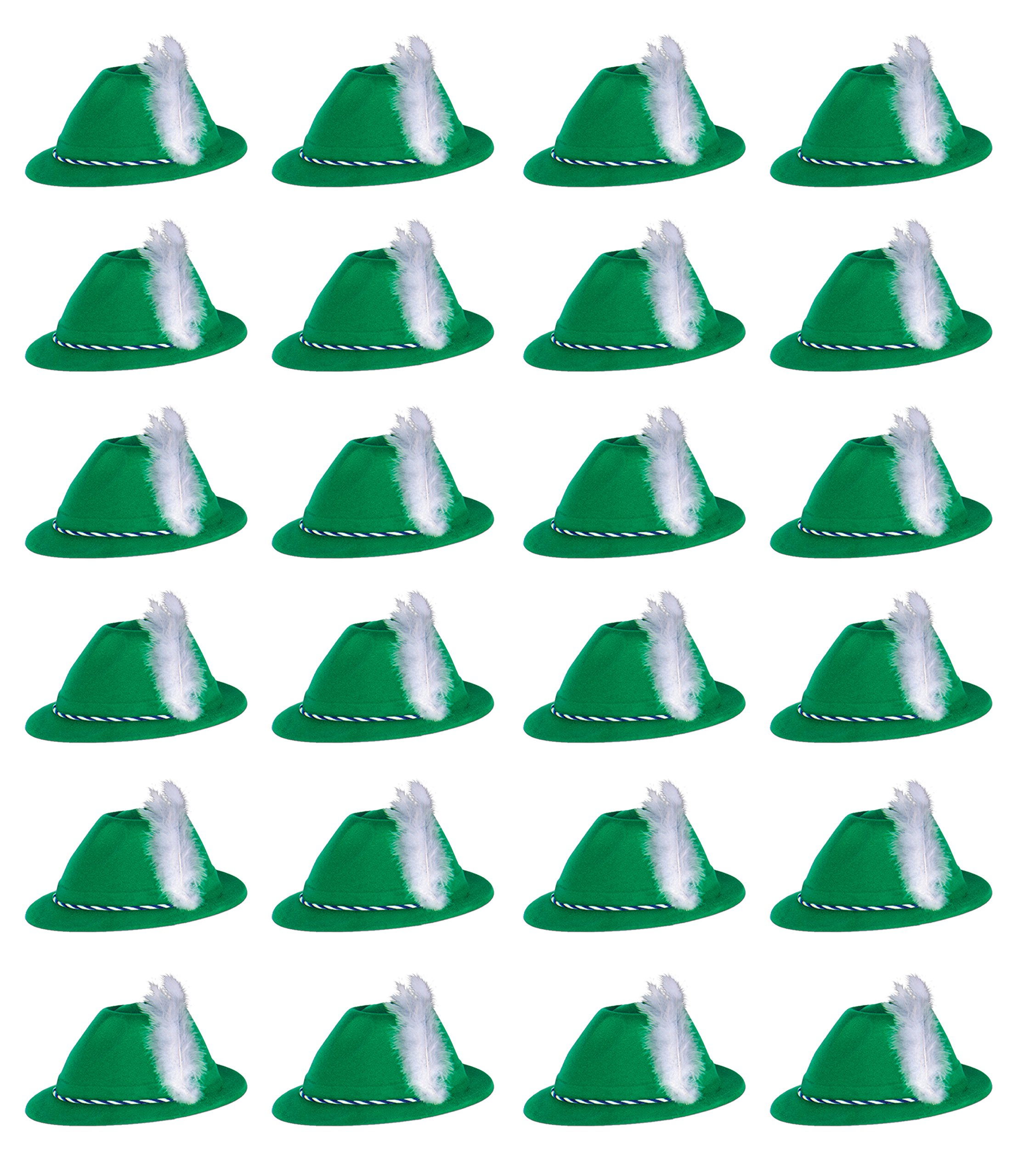 Beistle 66898 24-Pack Velour Tyrolean Hats, Green