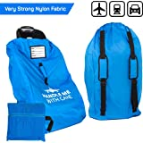 Car Seat Travel Bag Backpack for Gate Check Bag – Waterproof - 600D Nylon Fabric W/Adjustable Strap 18x18x34 inch (Blue)