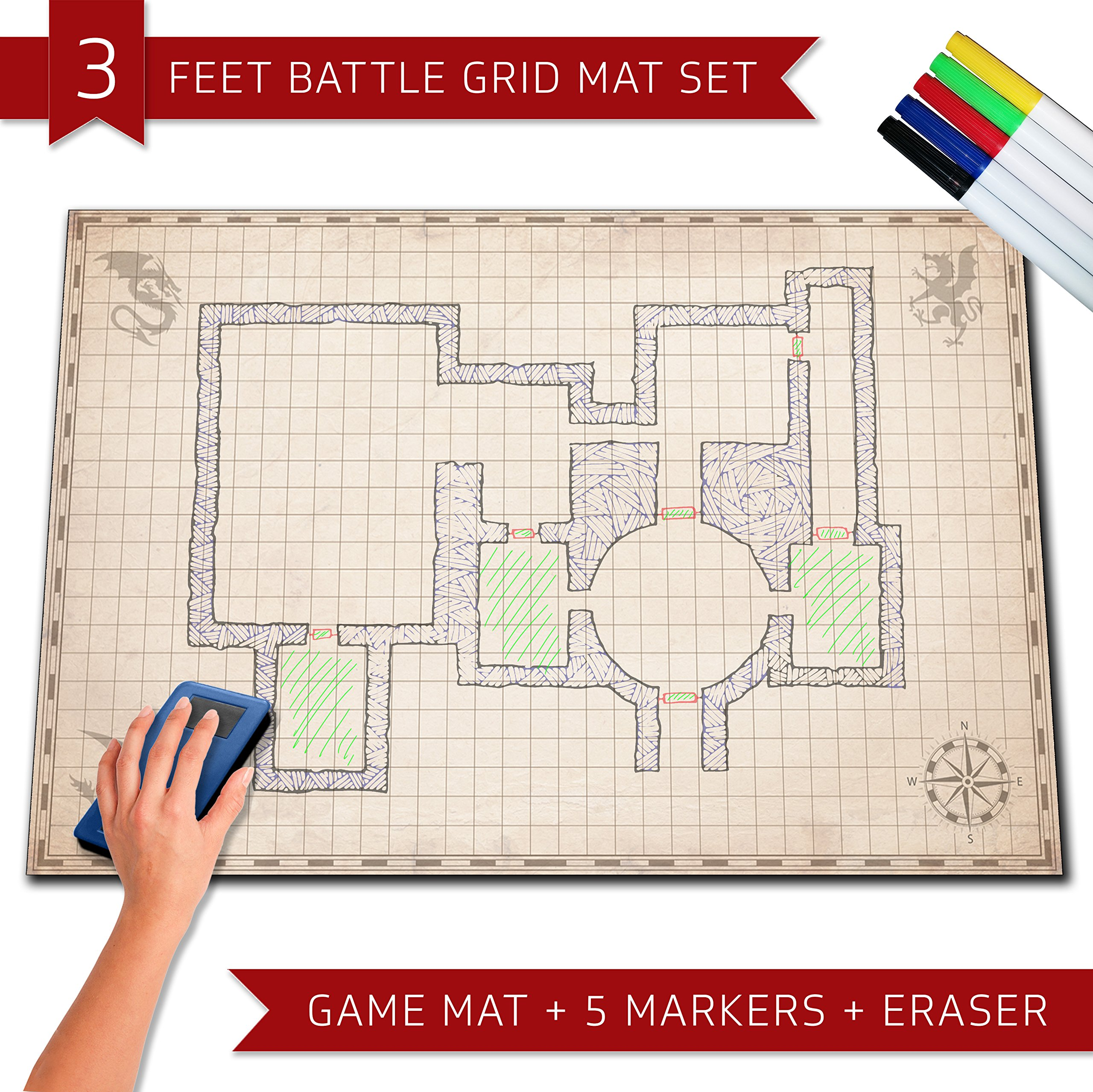 Dry Erase Rpg Mat Battle Grid Game Mat Dungeons Dragons