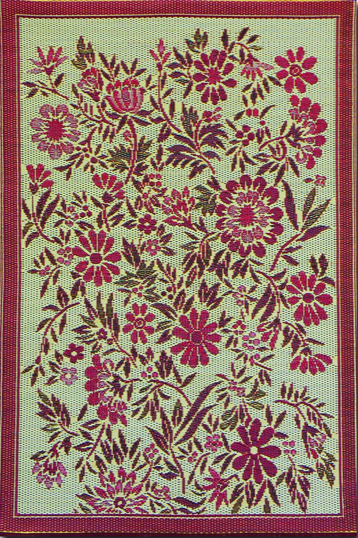 Mad Mats Wildflowers Indoor/Outdoor Floor Mat, 6 by 9-Feet, Cranberry