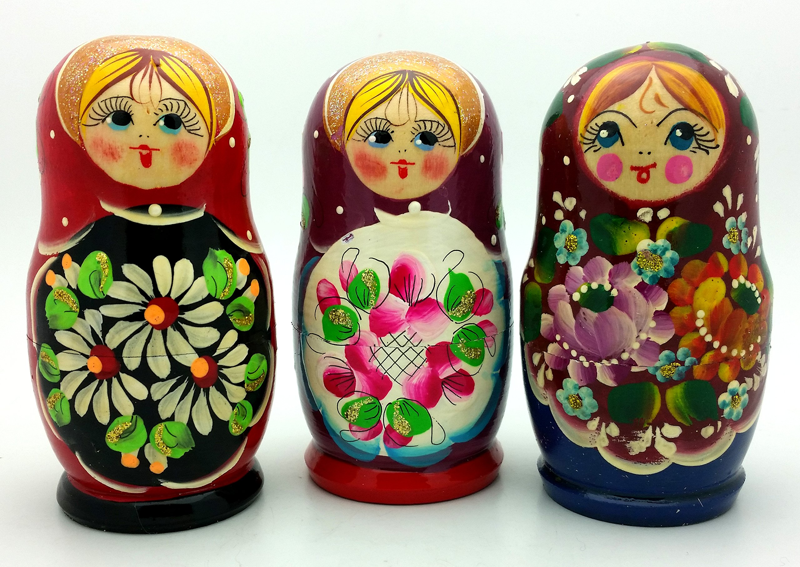 Lot of 3 Sets Russian Traditional Nesting Stacking Wooden Dolls Each Matryoshka Babushka set contains 5 dolls by BuyRussianGifts (Image #2)