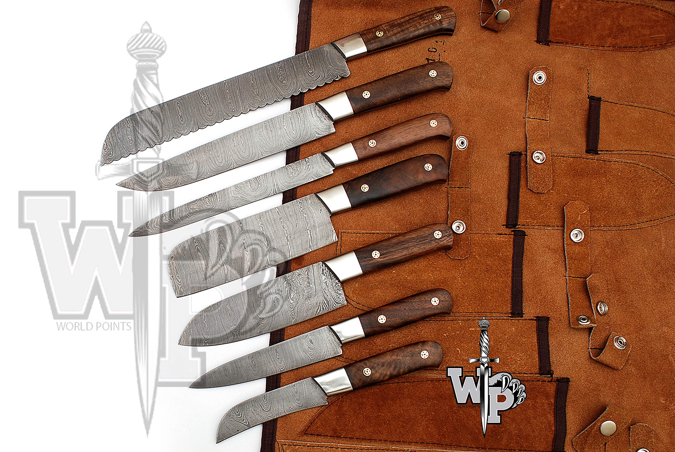 WP-1081 Custom Handmade Damascus Kitchen/Chef Knife Set 7/Piece Pocket Case Chef Knife Roll Bag By World Points (Walnut Wood)